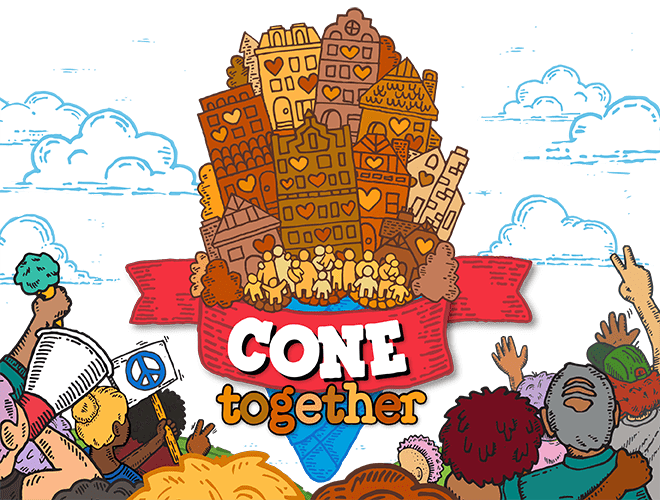 Cone Together Header Image - Activists holding ice Cream
